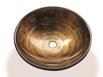 S205 UPC Elegant Inlay Gold Foil Ring Tempered Glass Vessel Washing Sink