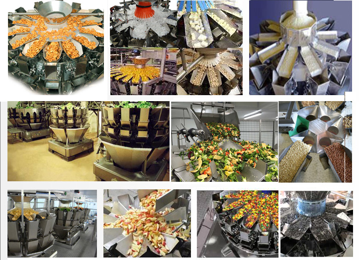 Horizontal 14 head multihead filling machine for potato vegetable fruit