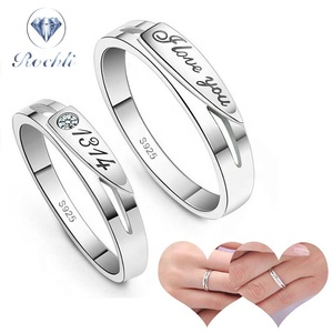 Cheap Price Silver Cute Couple Rings Adjustable love letter Ring Wedding Ring