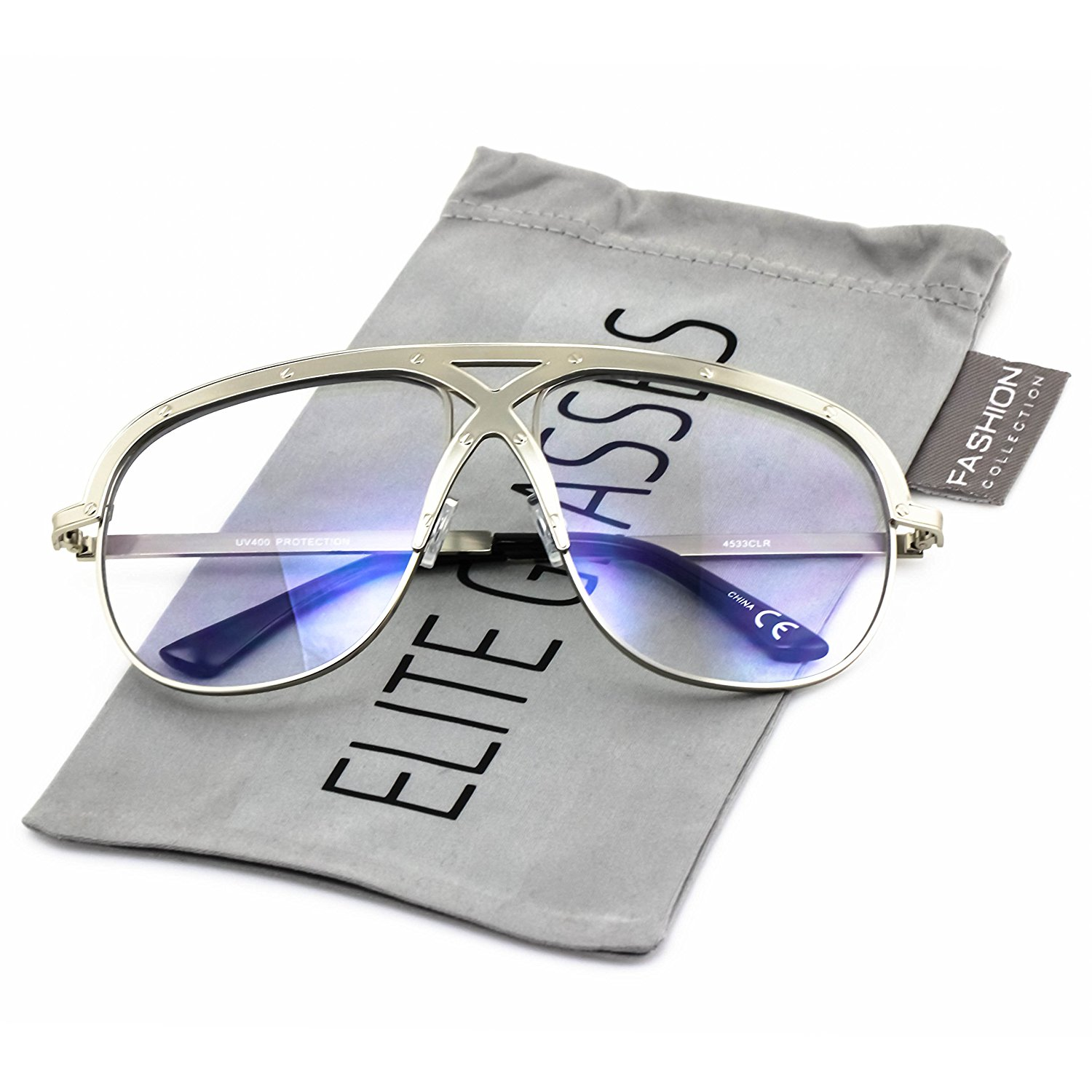 bc44cecdde Get Quotations · Elite XL Vintage Retro Oversized FULL Metal Aviator Clear  Lens Mens Womens Sunglasses