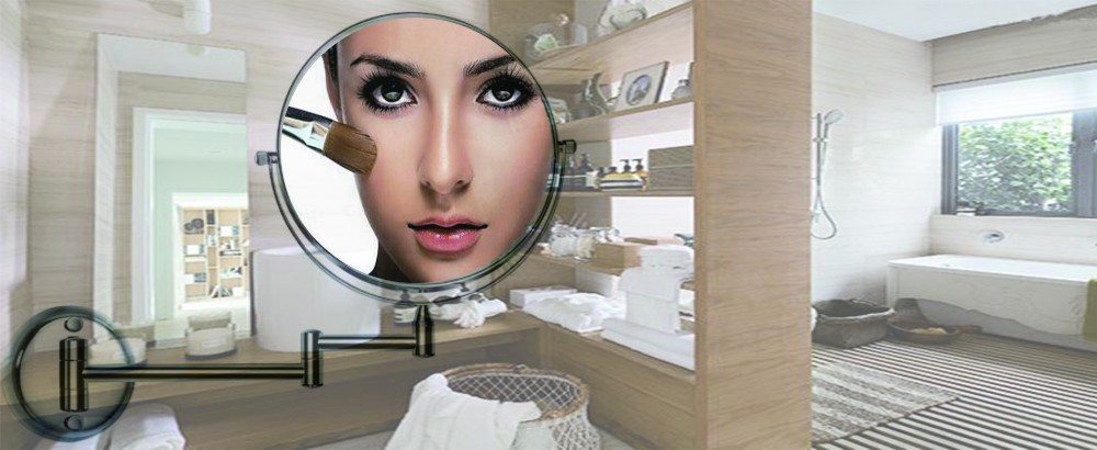 Bathroom Mirror Wall Mounted With 3x Magnification, Double-Sided Makeup Mirrors Magifying