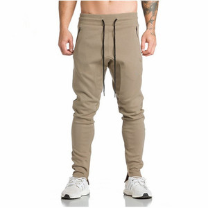 Joggers Wear Leggings Compression Embroidery Tights pants For Gym Men Side Zipper Sheer Bodybuilding Trouser