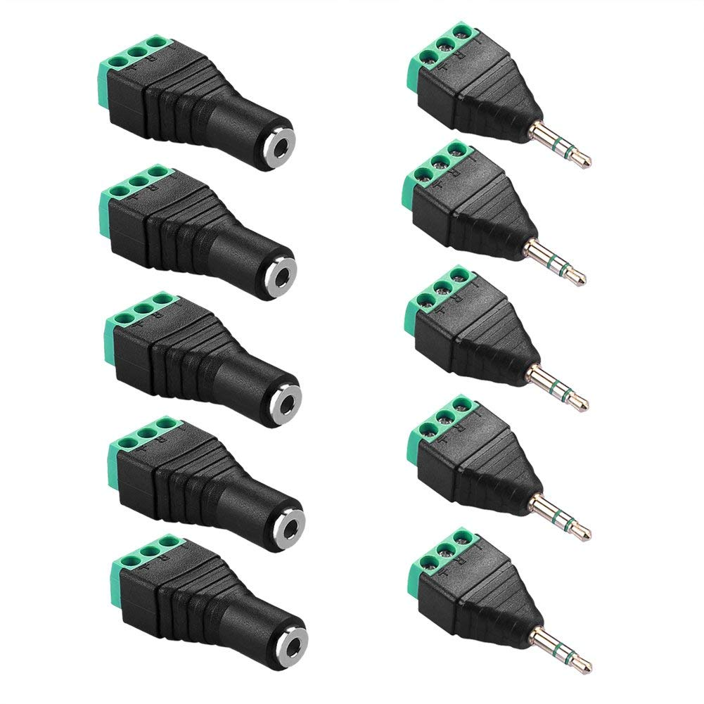 SIENOC 5 pieces 3.5mm Stereo 3 Pole Male Plug To AV +5 pieces 3.5mm Stereo 3 Pole Female Plug to AV Screw Video Balun Terminal Adapter