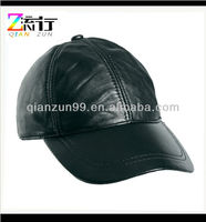 Mens Real Black Leather Baseball Caps