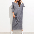 Knit draped asymmetric long sleeve maxi oversize dresses women