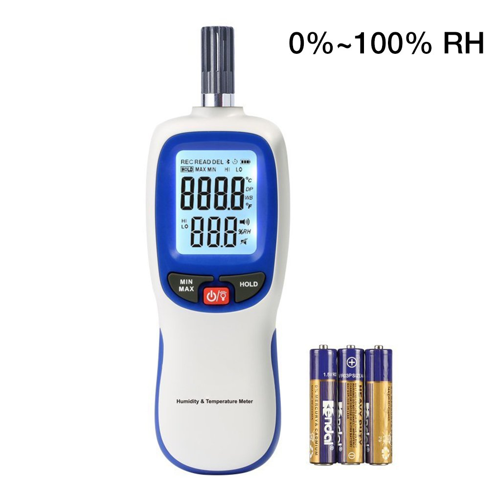 Digital Thermometer Hygrometer, Portable Handheld Humidity and Temperature Moisture Meter Tester Gauge with LCD Backlight, Wet Bulb / Dew Point Temperature Detector for Indoor and Outdoors