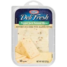 Kraft Deli Fresh Pepper Jack Natural Sliced Cheese, 8 Ounce -- 10 per case.