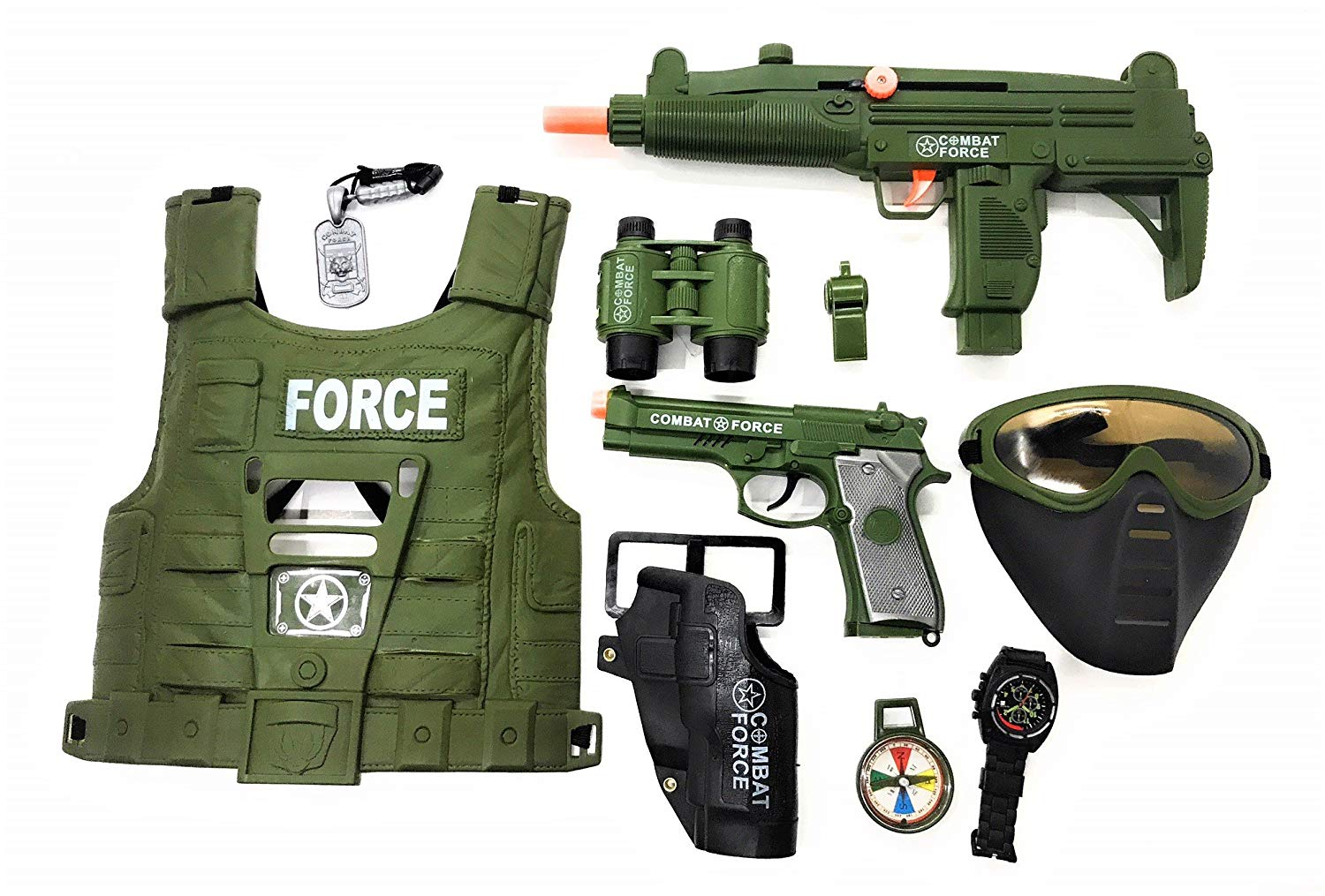 Military Friction Combat Force 10 Piece Boys Toys Playset, Boys Action Playset w/ Friction Gun , Watch , Toy Pistol , Army Vest , Tags & Accessories , Kids Military Combat play set