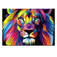 Unframed Large Wall Art Modern Painting Wall Decoration Colorful Lion Art Pictures Print On Canvas for Living Room Wall Decor