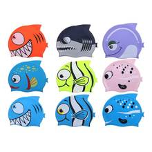 2016 newest design cool cartoon swim cap for kids,child unique shark/fish-shaped waterproof silicone swimming caps