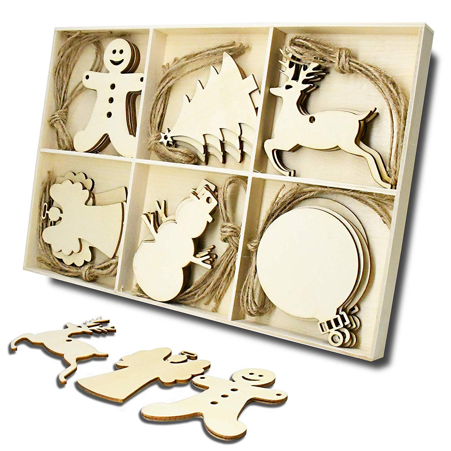 Wooden Christmas Tree and Snowman Shaped Embellishments Hanging Ornaments Decoration with Natural Twine (Each of 5)