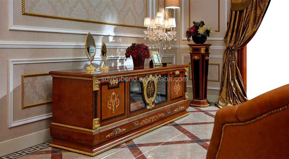 0038 Luxury Antique Tv Lcd Wooden Cabinet Designs For Living Room Tv Cabinet