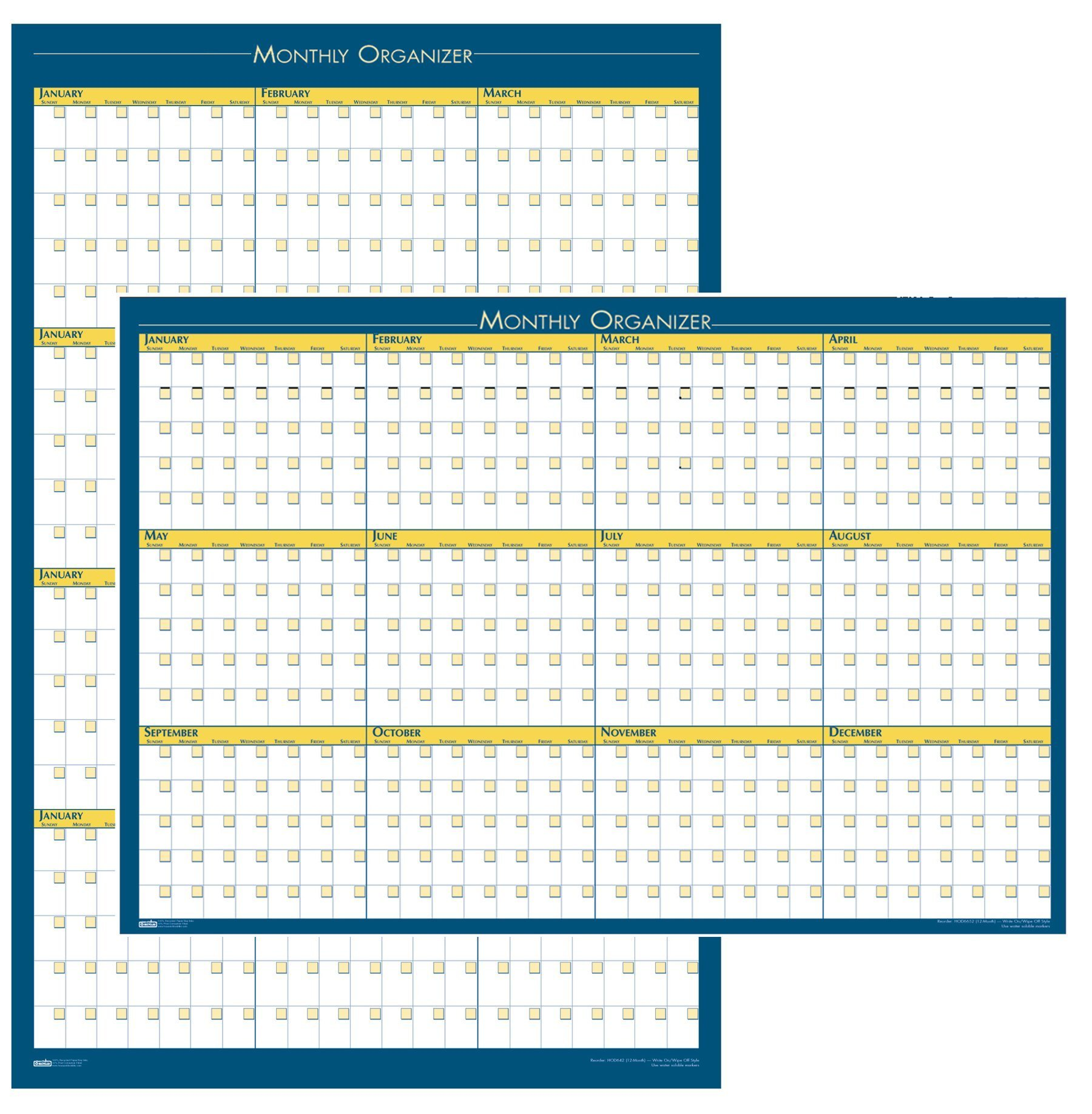 """House of Doolittle 12-Month Laminated Wall Planner, 36"""" x 24"""", Undated"""