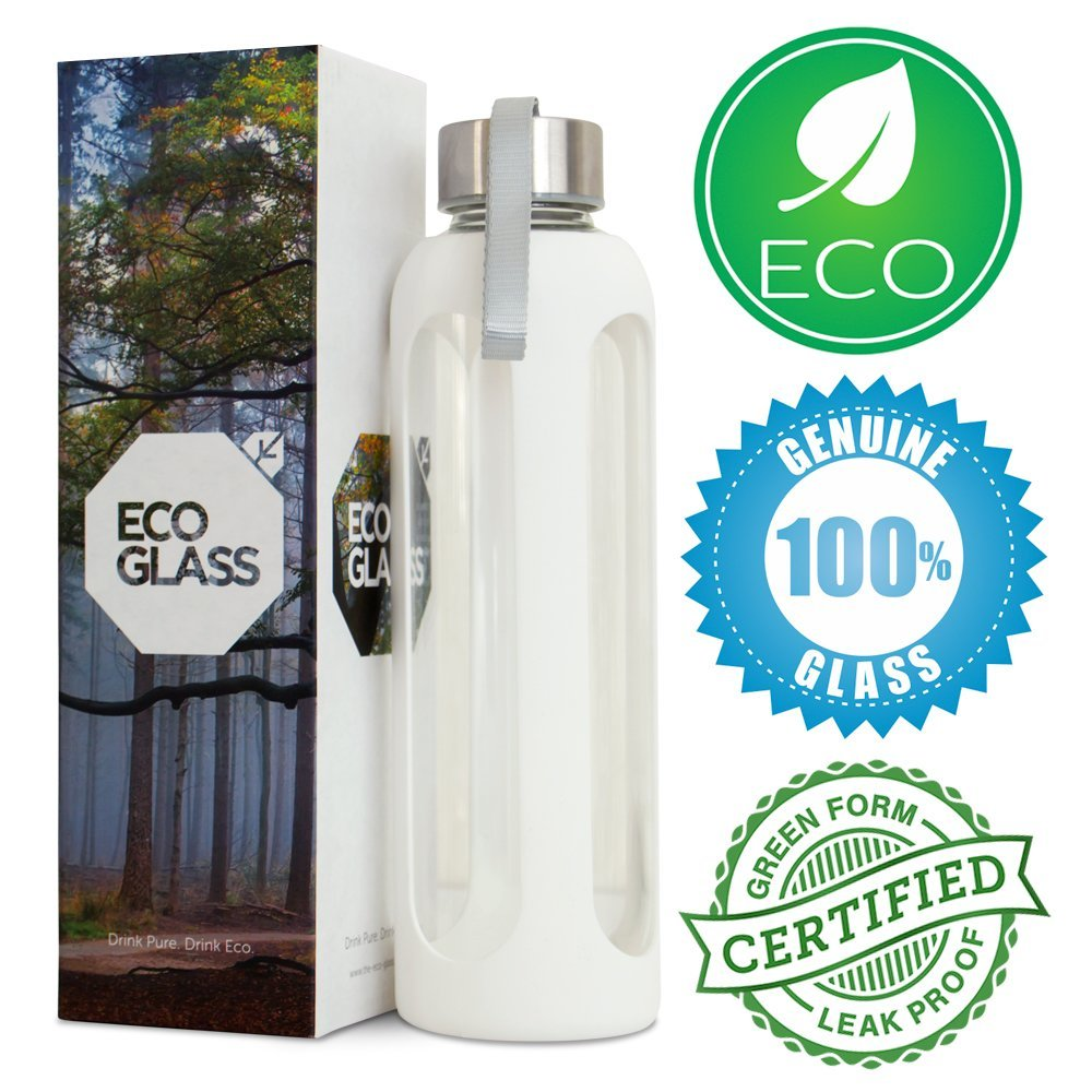 ECO GLASS Water Bottle - Stylish 20 Oz Reusable Eco Friendly Water Bottle with Stainless Steel Lid and Handle - Protective Non-Slip Silicone Sleeve - Dishwasher & Microwave Safe - Heat Resistant Borosilicate BPA Free Glass - Perfect for Moms with Kids - Office - Car - Fitness - Camping - Kitchen.