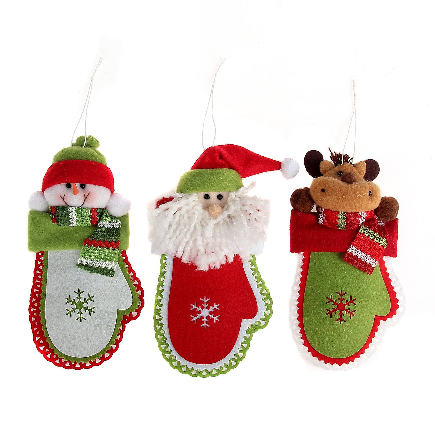 Danibos Adorable All Kinds of Assorted Winter Santa Claus Christmas Deer Christmas Gloves Christmas Stockings Lucky Hanging Drop Tree Ornaments Cute Christmas Gift Cute Snowflake Shape Gift (Christmas Snowflake Set)