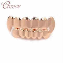 CANNER хип-хоп ЗУБЫ Grillz розовое золото верх и низ ювелирные изделия для женщин и мужчин Панк косплей вечерние Рэппер подарок рот зуб грили(Китай)