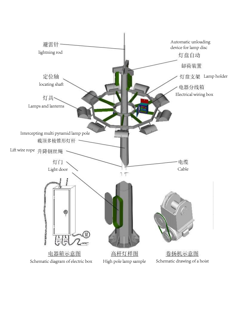 Galvanized high mast light with raising and lowering device
