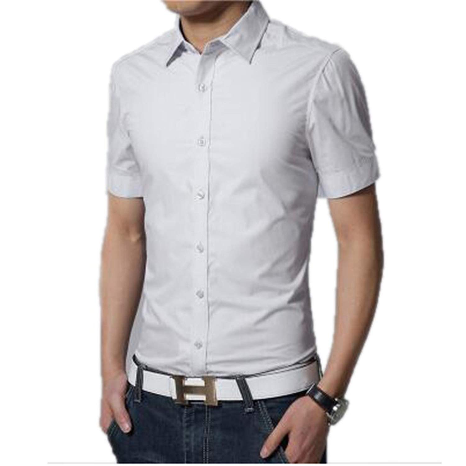 5c84694889f0 Men Short Sleeves Solid Summer Shirts Button Down Shirt Collar Dress Shirts