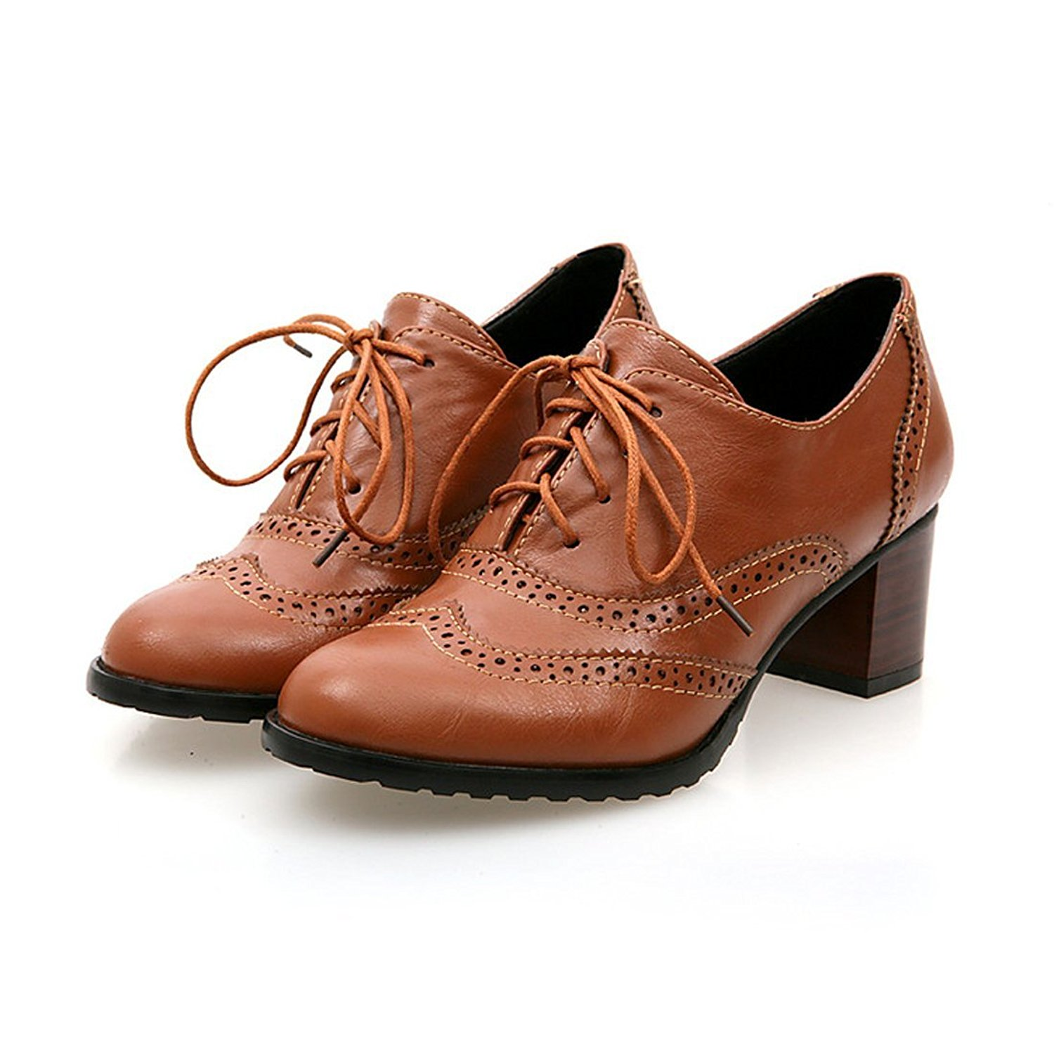 41a0f96a4e6 Get Quotations · Milesline England Brogue Shoe Womens Lace-up Mid Heel Wingtip  Oxfords Vintage PU Leather Shoes