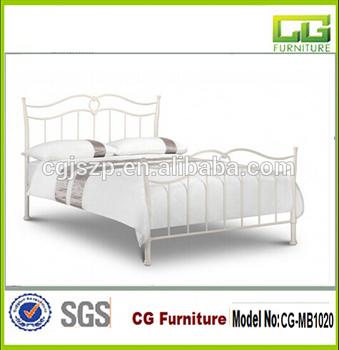 Eenpersoonsbed Wit Ijzer.Antiek Wit Sierlijke Lijnen Victorian Ijzer Metalen Bed Cg Mb1020