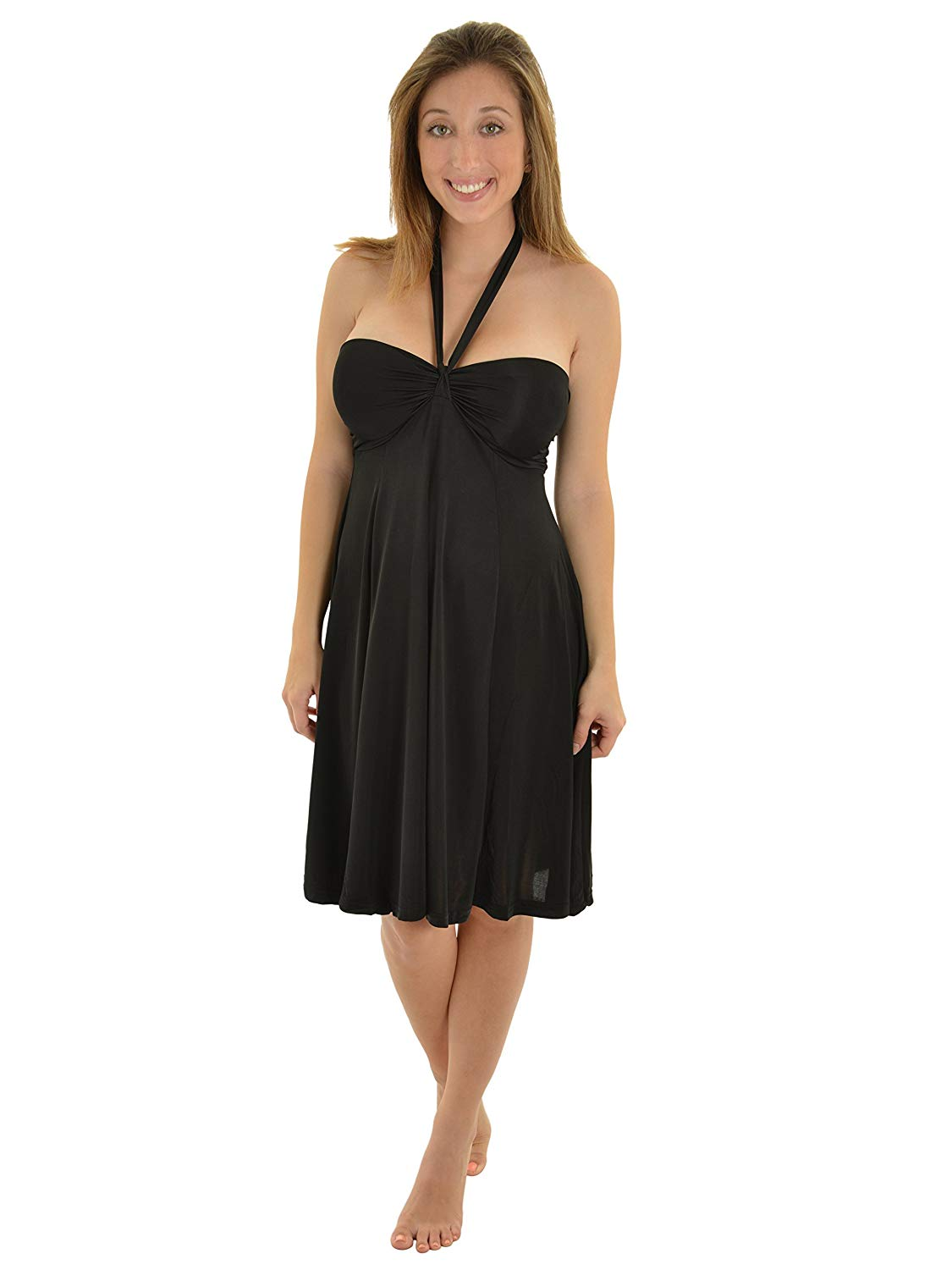 c90a09f41b Get Quotations · Womens Black Bandeau Dress with Convertible Straps Halter  Strapless