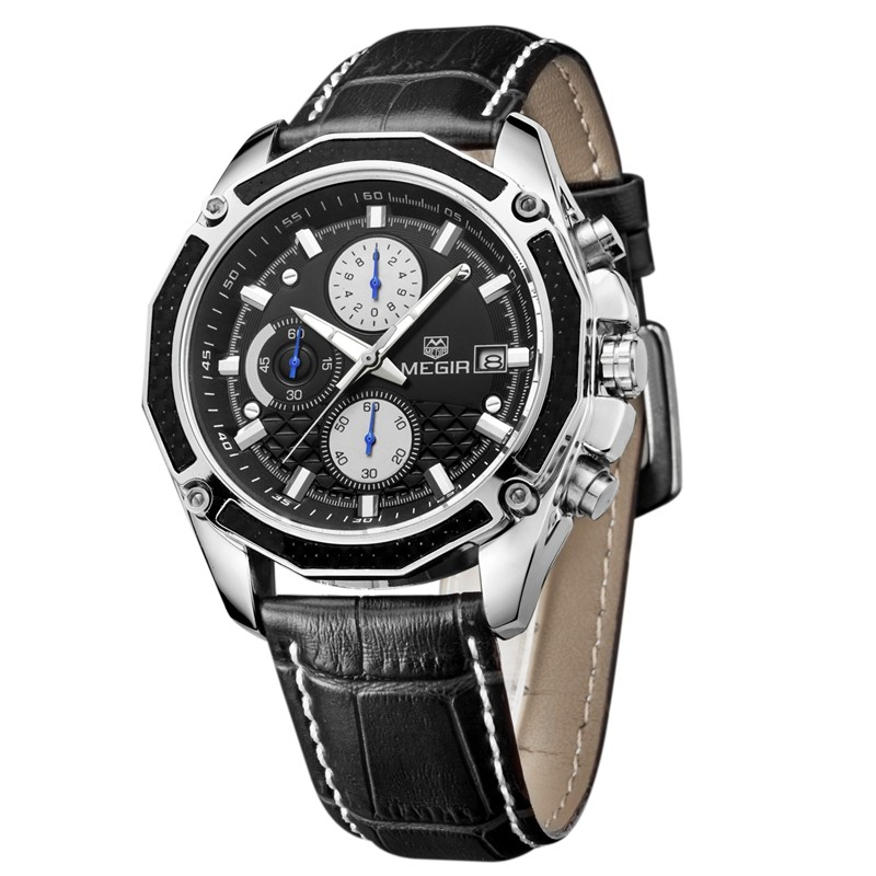 Megir fashion sport quartz watches men casual leather brand wristwatch man hot waterproof luminous stop watch for male hour 2015