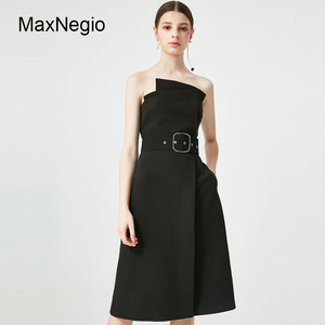 Maxnegio Guangzhou Factory Elegant Black Sash Design Strapless Lady Dress Gown