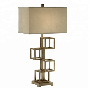 wholesale fabric shade vintage champagne metal cube table lamps