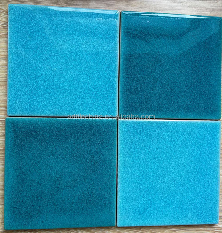 blue green color crackle glaze mosaic ceramic wall tile 15x15