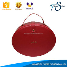 Round portable gift 2016 Top quality leather box buy direct from china manufacturer