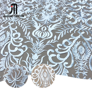 Guangzhou textile custom flower embroidery mesh bridal fabric lace