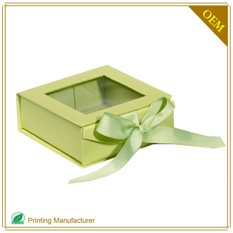 Custom Gourmet Chocolate Praline Box With Clear Lid Ribbon Divider