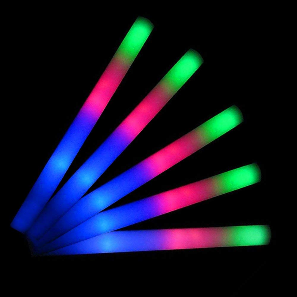 Lifbeier 30 Pieces LED Foam Sticks - Glow in the Dark Flashing Light-up Toys Glowsticks Party Supplies for Birthday, Wedding, Christmas, Halloween, Kids