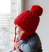 kids warm wool factory custom winter hats beanie hats knitted winter funny hat and cap with top ball 25