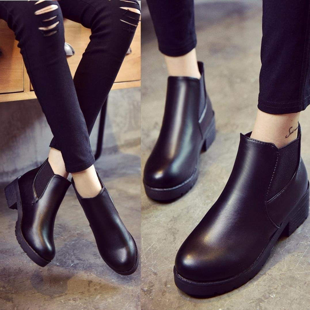 7da224051214 Get Quotations · Gyoume Winter Boots Women Ankle Boots Shoes Ladies Flat Wedge  Boots Round Toe Boots Dress Shoes