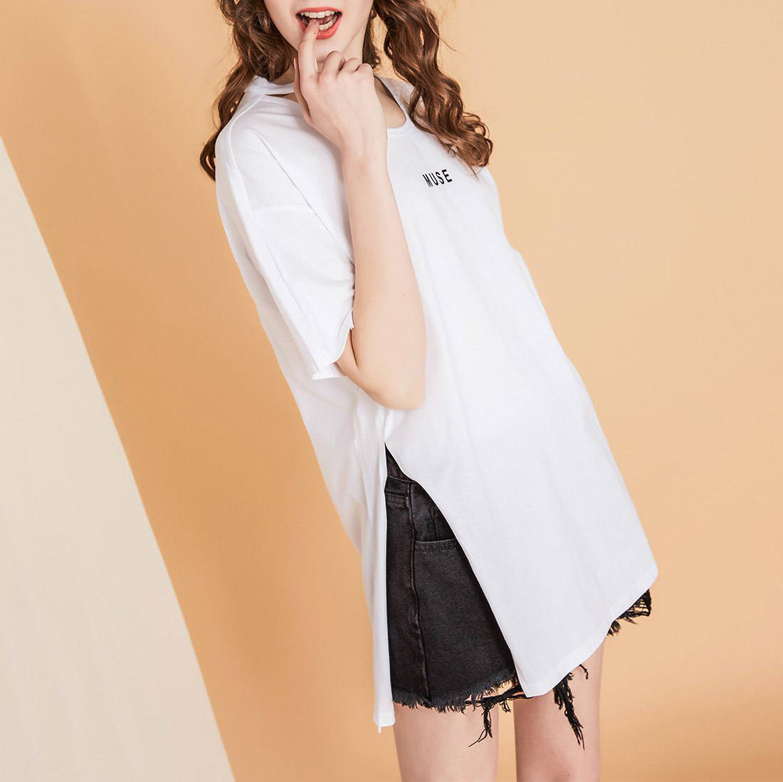 A long Split Neck T Shirt For Women Shows Thin Short Sleeved Style