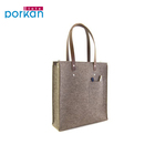 Wholesale Custom Logo Puff Printed Felt Shopping Tote Bags With Leather Handle