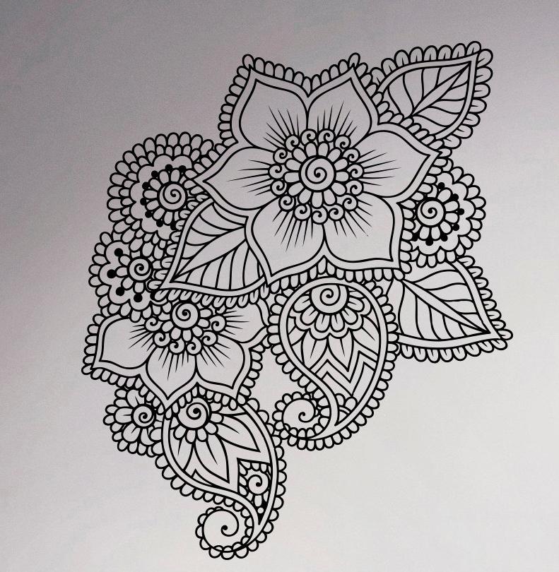 herunterladen henna mehndi pasiley mandala blume doodles vektor stockillustration 2764710. Black Bedroom Furniture Sets. Home Design Ideas