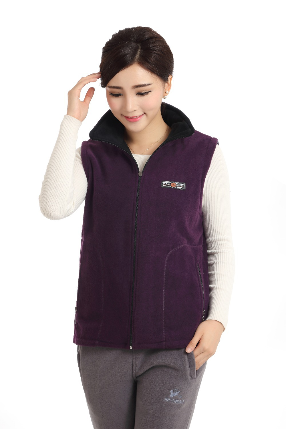 2015 Fall Winter Women Standard Fashion Cotton Vests Thin Zipper Turn-down Collar Coat Ladies Pockets Sleeveless Outwear D42a