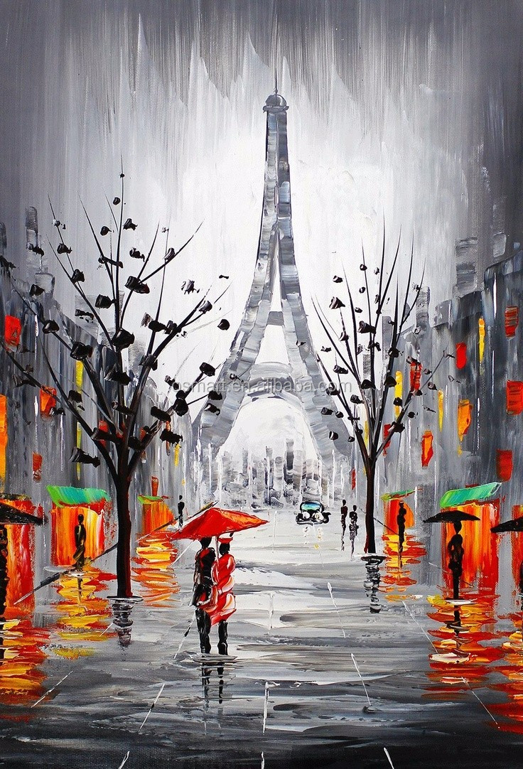 Eiffel Tower winter snow orange lights people are walking on the street 100% handmade decoration oil painting in canvas