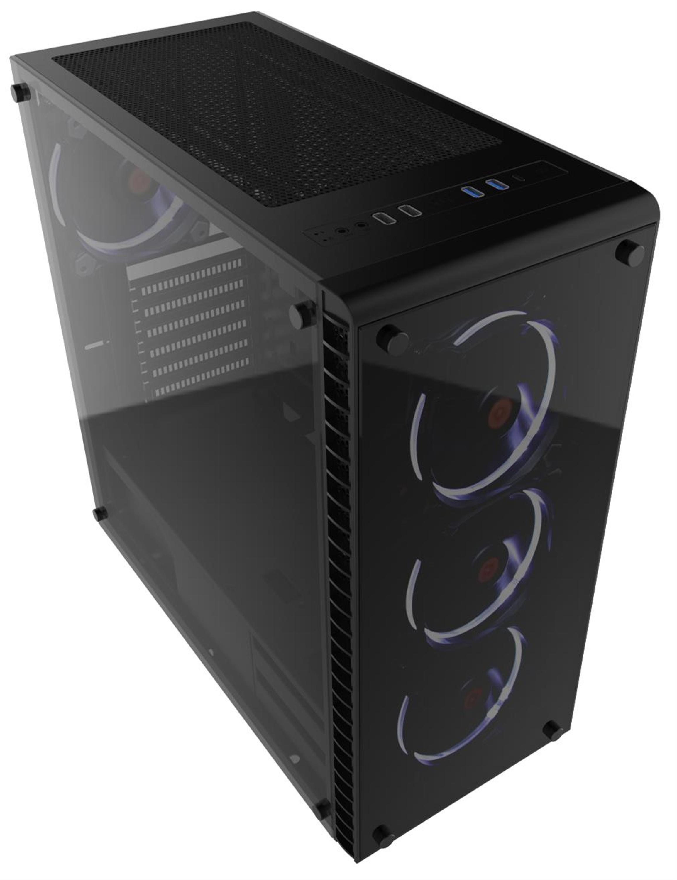 435mm Tall Black Midi Tower Tempered Glass Gaming Case with RGB Fans