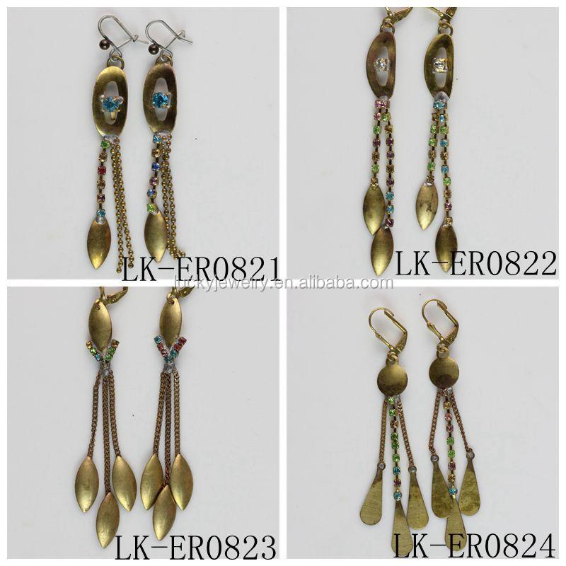Beautiful Long Korean Earrings Diamond Dangler Earrings For Girls ...