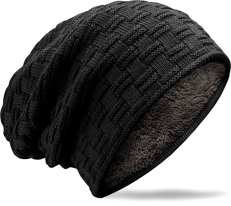 muco Mens Womens Hat Beanie Cap, Unisex Winter Warm Knitted Hats, Fleece Lining Slouch Skull Beanies Caps For Men Women