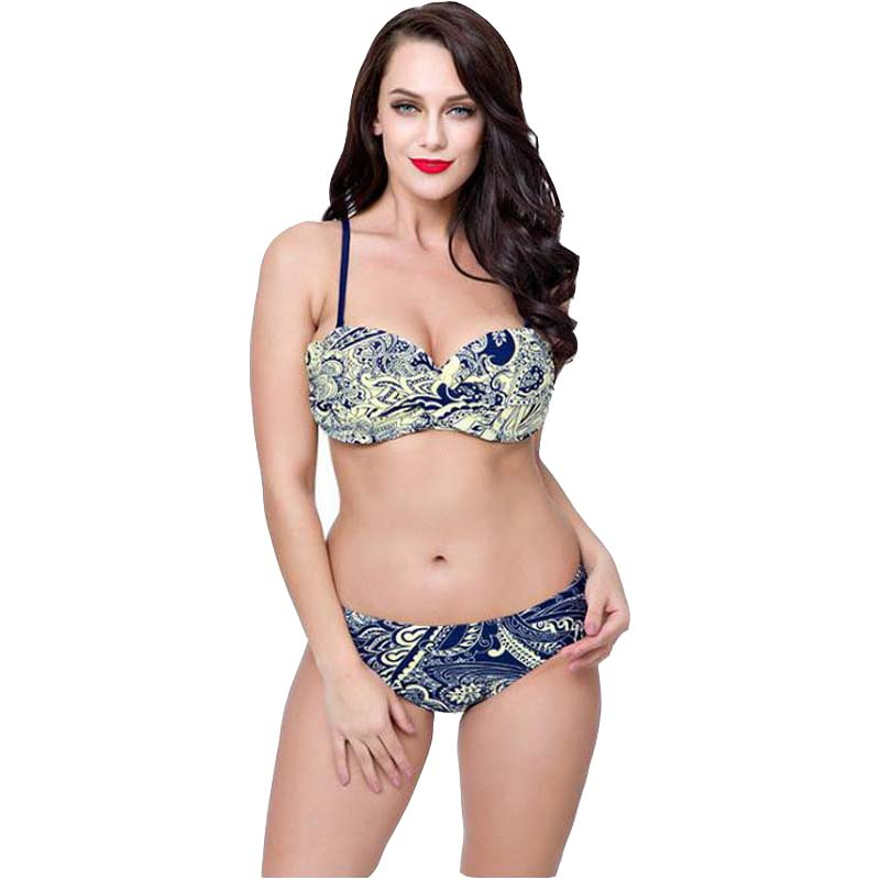 ea78259eef New Fashion Sexy Bikini Large Size Swimsuit Female Cashew Nuts Big Cup  Ladies Sexy Print Beach Bikini Swimsuit Set Beach High