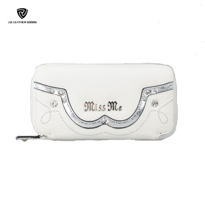 Girls White Nylon Female Coin Sorter Wallet/PU Leather Wallet