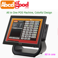 All in one window OS15inch TFT LCD touch screen pos system dual screen
