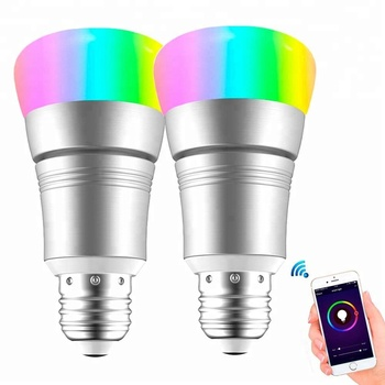 Remote APP control smart E27 wifi bulb RGB+W WIFI enabled LED bulb light works with Amazon Alexa echo bulb