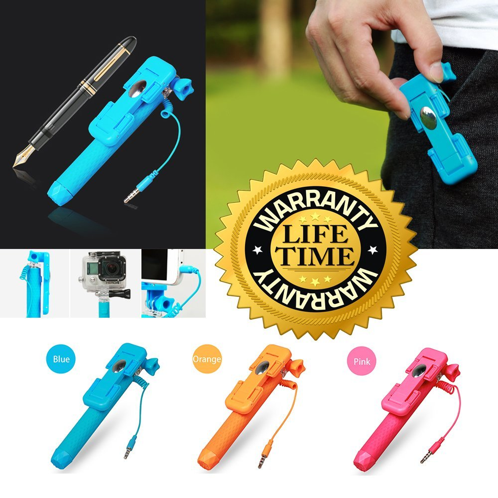 TecExclusive Selfie Stick, Super Mini Pen-Size Aluminium Monopod (Battery Free) for GoPro, iPhone 6, iPhone 6 plus, iPhone 5 5s 5c, Android phones, Samsung Galaxy and Note