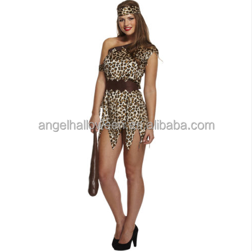 Ladies Cavewoman Costume Adults Cave Girl Prehistoric Fancy Dress Womens Outfit