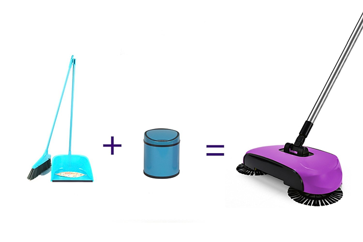 LOHOME® 360 Degree Rotating Broom, Hand-Push No Electric Safe Cleaners Broom Dustpan Trash 3-in-1 Cordless Swivel Sweeper